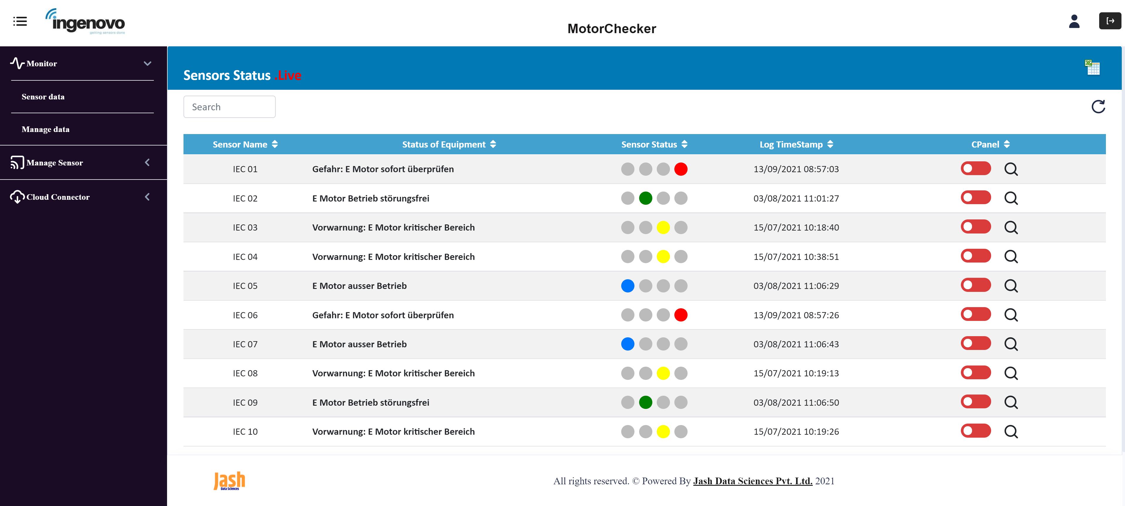 ingenovo Portal für Motor Checker